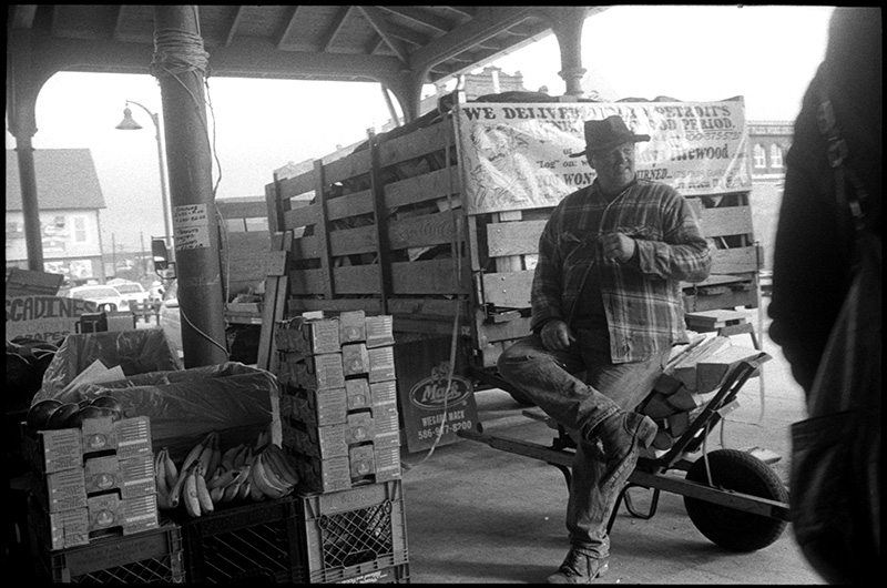 black and white photograph, 0276_27 Vendor, Eastern Market, Detroit Michigan