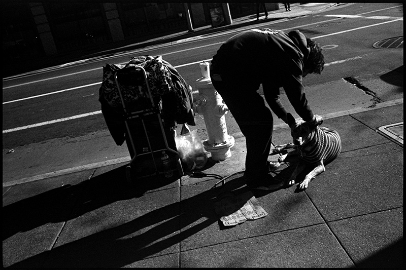 black and white photograph 0277_27A Homeless Man With Dog, San Francisco