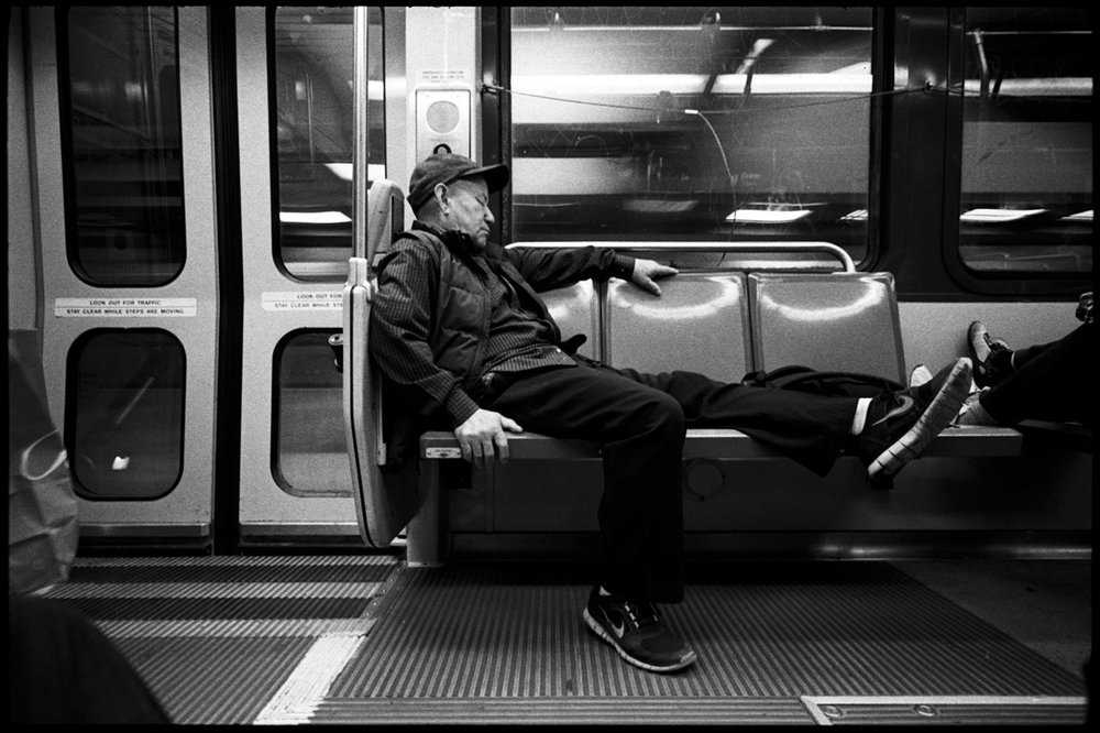 #0469_27A - Sleeping Man, Muni Train. San Francisco, CA. September of 2016.