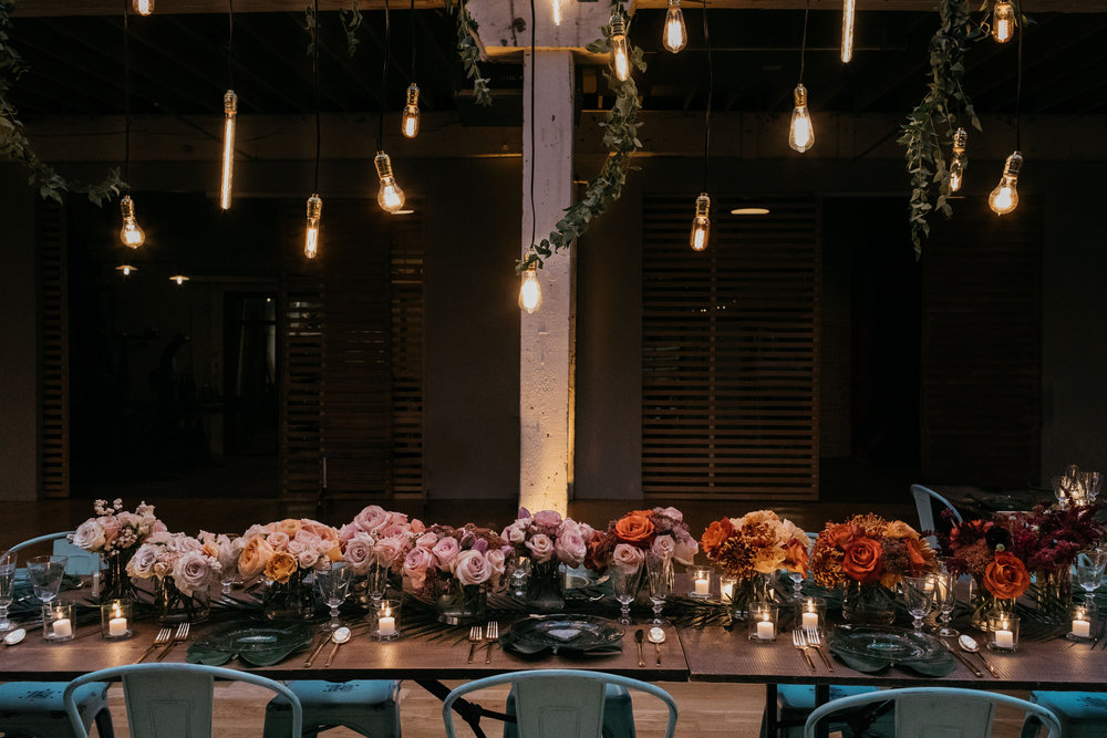 industrial vintage elegant ombre table setting for wedding at The Joinery Chicago