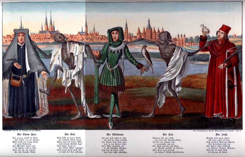 Distler Totentanz movement 14  The mural from the Lübeck Totentanz, with the original medieval dialogues that inspired Hugo Distler