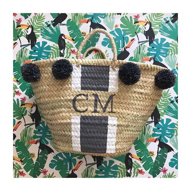 🖤// Urban Slate and White Daisy stripes with matching Pom Poms on our Small sized bag! Our website will be back up soon ☺️ - - - -  #beachbag #beach #wicker #wickerbasket #wickerbag #forsale #interiors #handbag #handmade #style #london #morocco #shop #summer #blogger #fblogger  #fashion #palmleaf #onlineshop #startup #pompom #monogram #palm