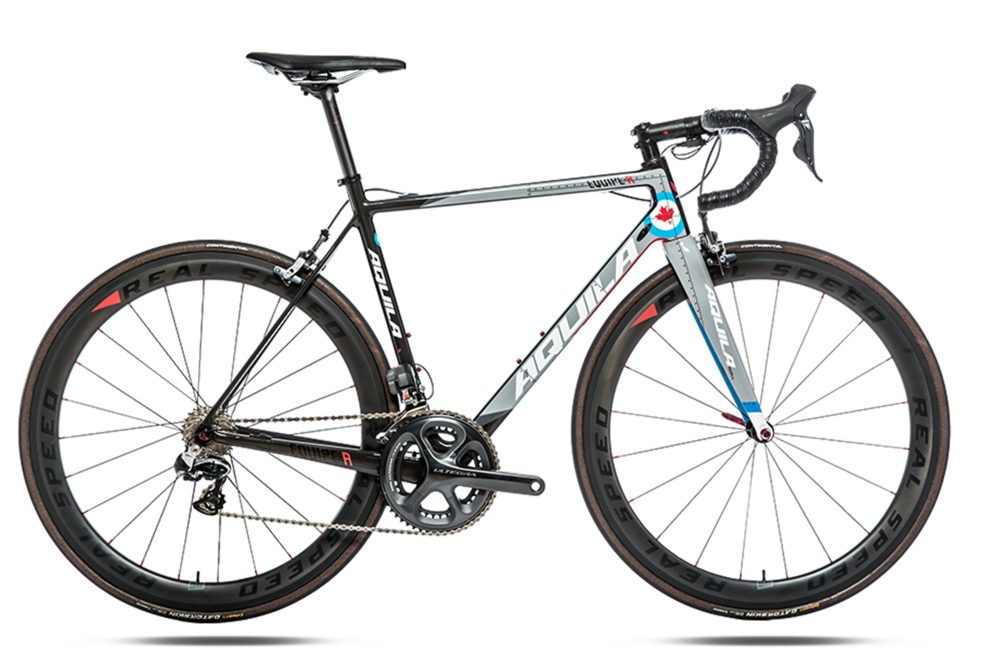 "Dura-ace 9000 - Frame – High Modulus Full CarbonFork- High Modulus Full CarbonHeadset – Token 1-1/8""-1-.1/4""Wheelset – Real Speed RS ¾ Carbon ClinchersTires – Continental GP4000 S II (700 x 25)Shifters – Shimano Dura-ace ST-9000Brakeset – Shimano Dura-ace BR-9000Front Derailleur – Shimano Dura-ace FD-9000Rear Derailleur – Shimano Dura-ace RD-9000Bottom Bracket – Shimano Dura-ace BB-9000Crank- Shimano Dura-ace FC-9000Chain – Shimano Dura-ace CN-9001Cassette – Shimano Dura-ace CS-9000Handlebar – Real Speed RS/Ergo CarbonStem – Real Speed RS-7 (-7 degree)Saddle – Fizik Arione R3Seat post – Real Speed Carbon 27.2MSRP: $6899.00"