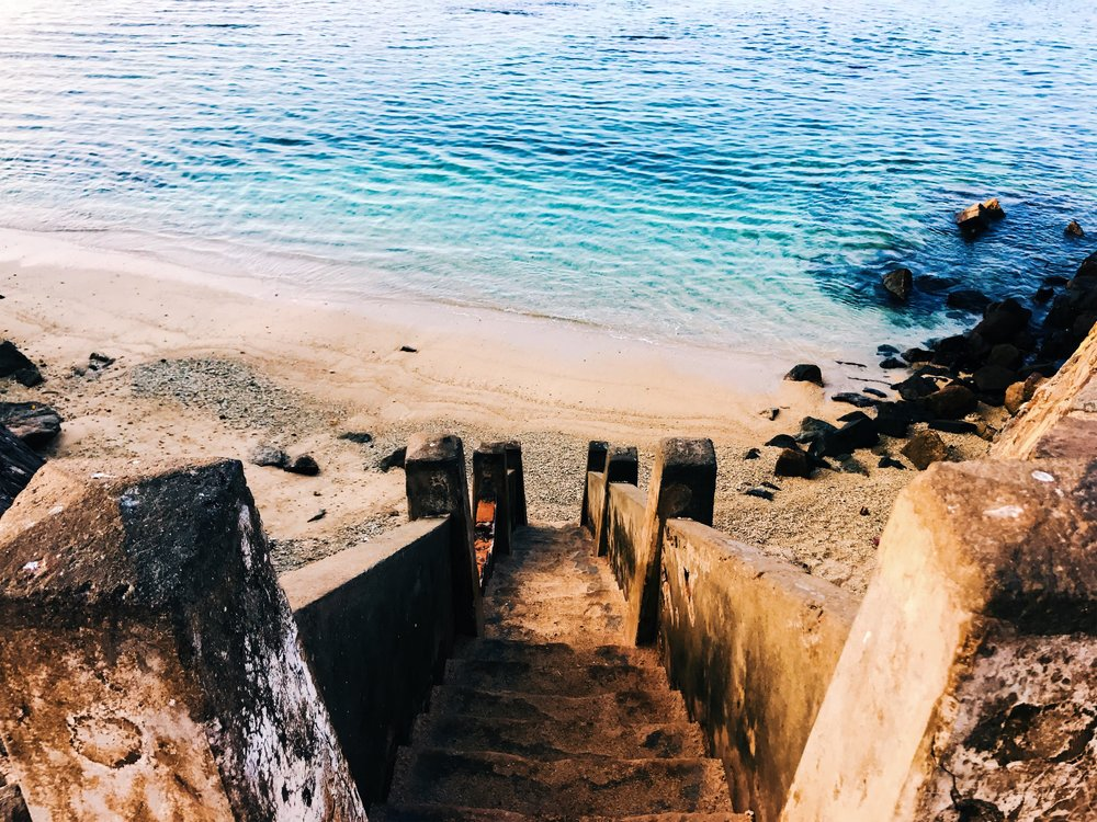 Stairs to the beach from Galle Fort