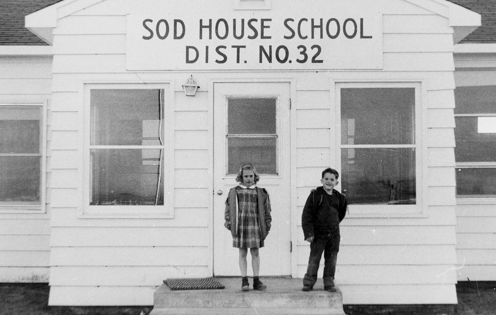 John Marshall with sister Janet at Sodhouse School in the nineteen fifties.  We are among the few adults in the United States who attended a one-room country school.