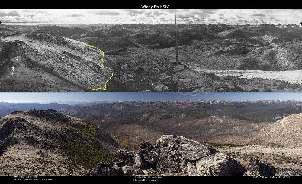 WINDY PEAK SW 1934 Photo- Albert Arnst from National Archives and Records Administration, Seattle, Wa.  2014 Photo- John F Marshall for Okanogan-Wenatchee National Forest and Wenatchee Forestry Sciences Lab.   View looking from 180 degrees (south) to 300 degrees (west by northwest)  Yellow line shows boundary of old fire scar.
