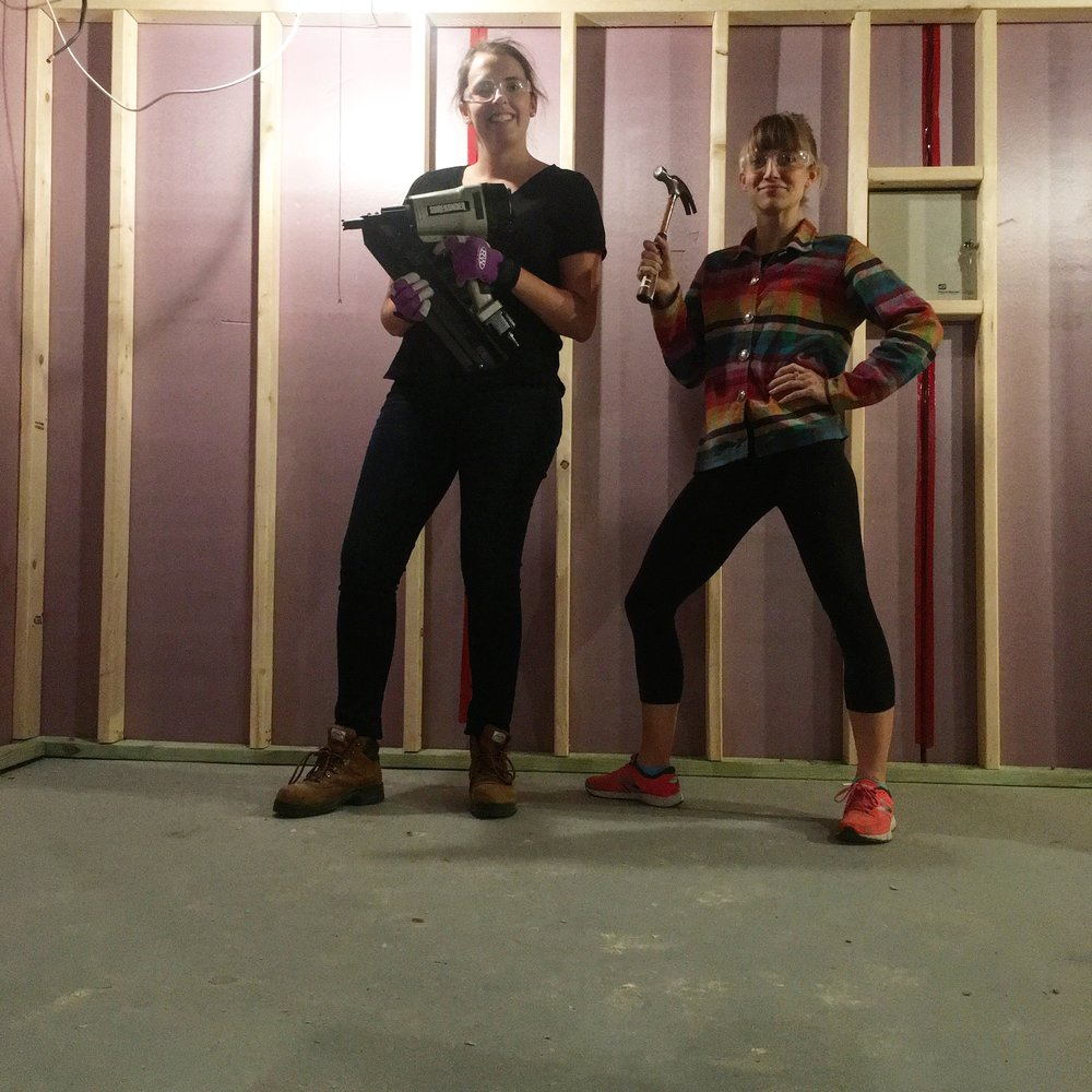 My roomie Kendra and myself at the framing stage - feeling damn powerful.