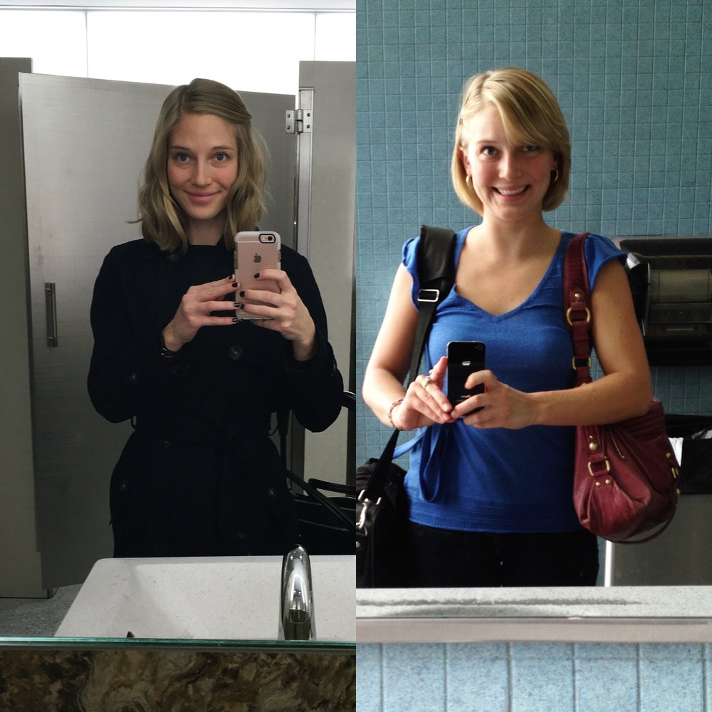 On the left: Optimistic at 26 on the brink of leaving my consulting gig. On the right: my first business trip 3.5 years earlier.