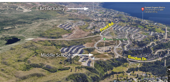 The average driving distance from Kettle Valley to the new school is approximately 4.5 km
