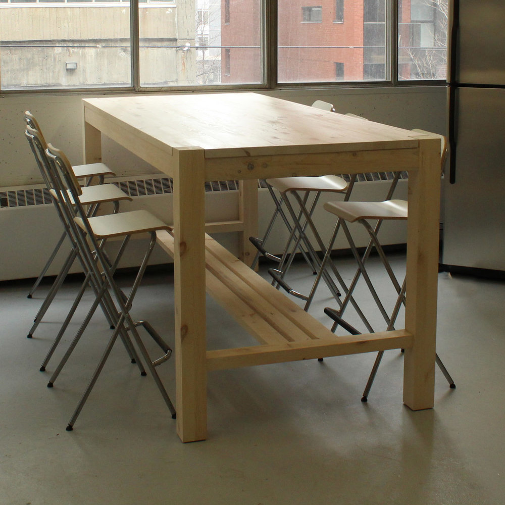 custom design, pine table, solid wood furniture, made in montreal, white oil pine, bar table, locally made