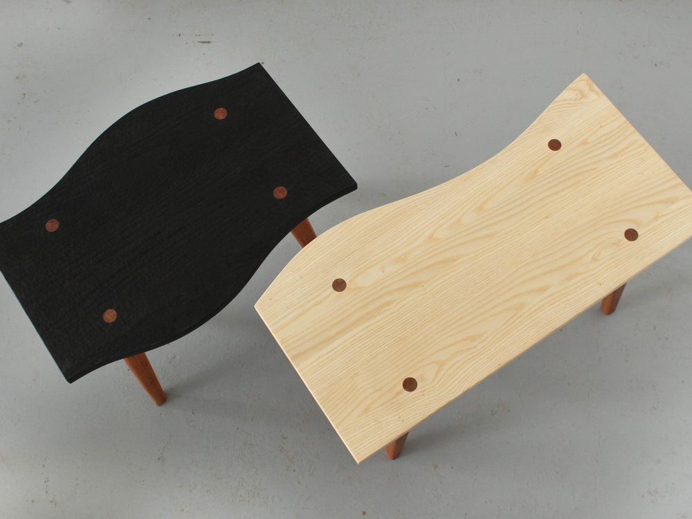 solid wood furniture made in montreal, emma senft, tables, ebonized ash, meubles sur mesure, métiers d'art Montréal, design
