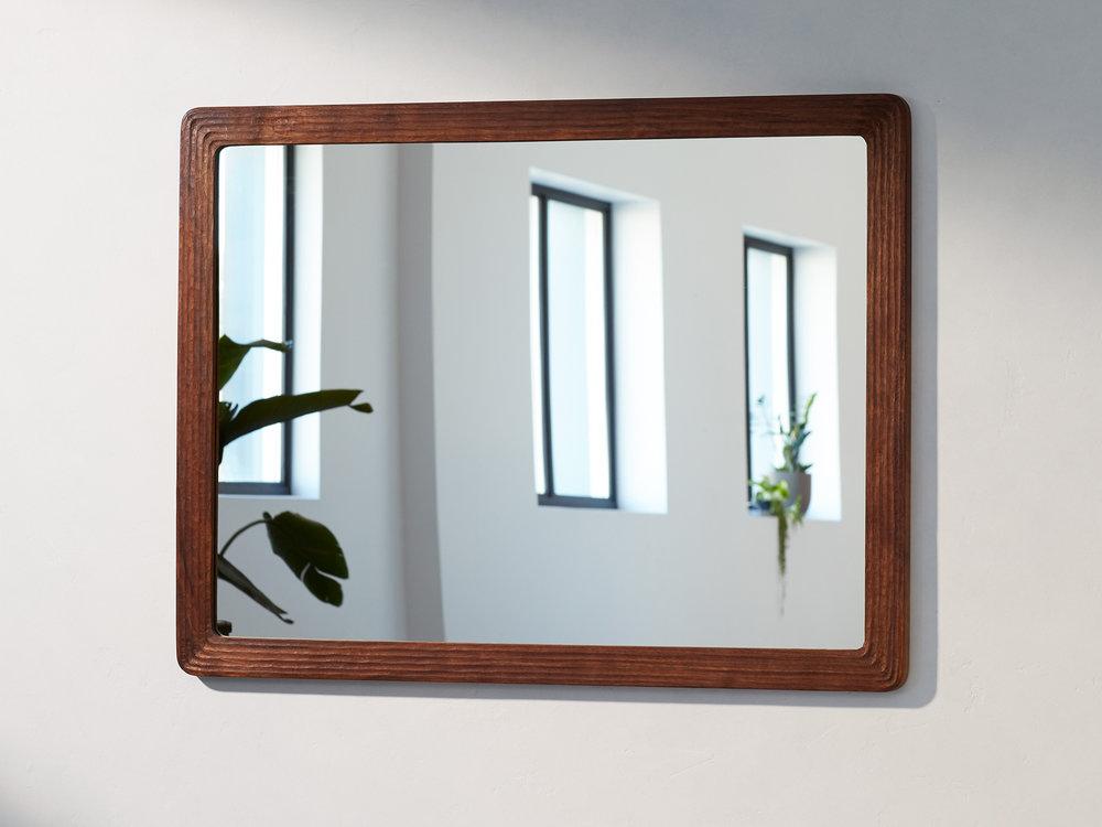 custom modern design mirror emma senft carved walnut made by hand montreal
