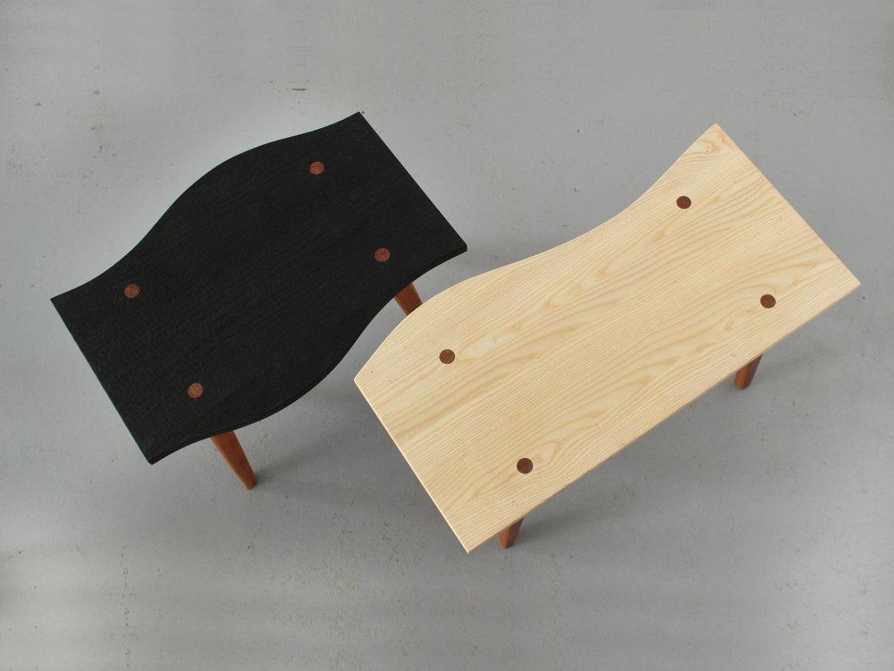 solid wood furniture made in montreal, emma senft, tables, ebonized ash, meubles sur mesure, métiers d'art Montréal, design