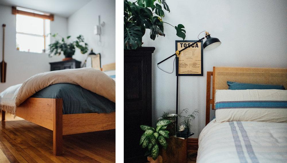 custom bed solid wood interior design Emma Senft furniture design made in Montreal