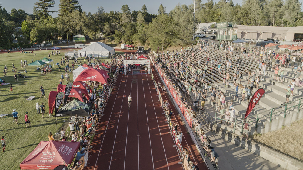 Jim Walmsley heads towards a record finish of the Western States 100 with a time of 14:30:04. Auburn, California.