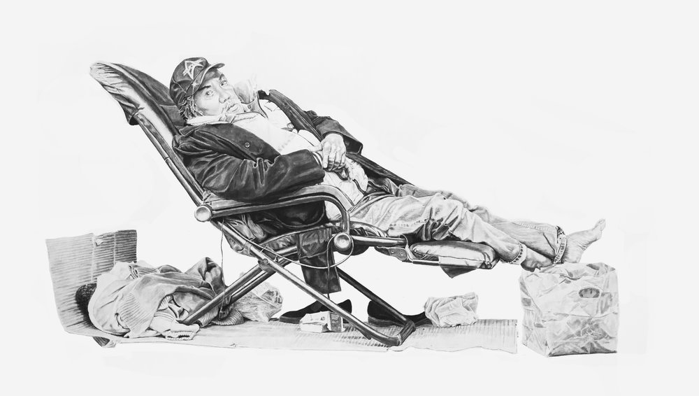 Robert in a Chair, Charcoal & Graphite on Paper, 56 x (approx)100 inches