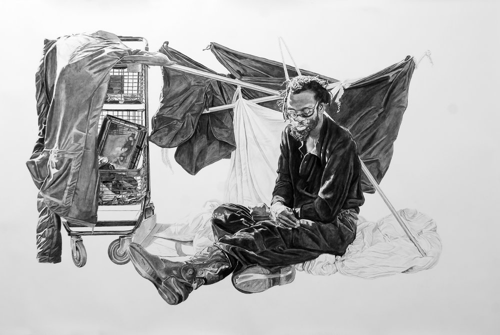 Henry (Nate) with a Structure, Charcoal & Graphite on Paper, 56x80 inches