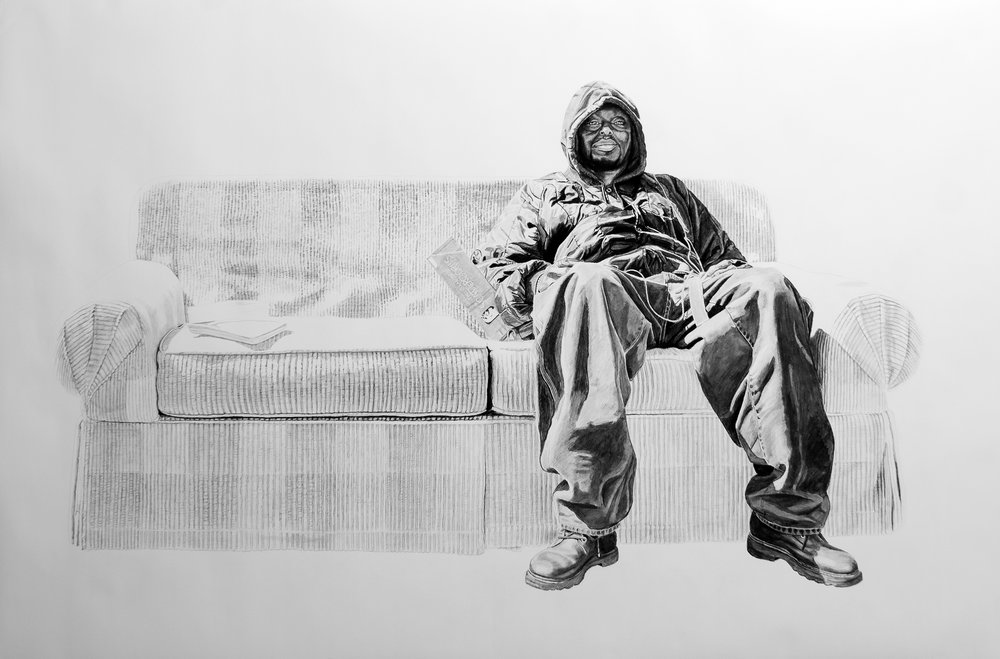 Jason on a Couch, Charcoal & Graphite on Paper, 56x87 inches