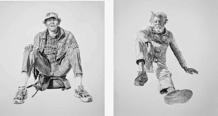 (R to L) Preston, Billy. Both works 16x20in, Charcoal & Graphite on Paper
