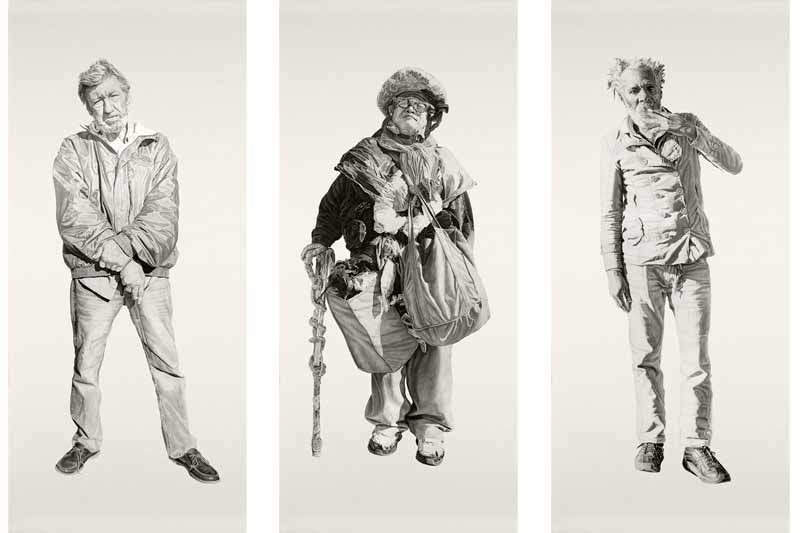 (L to R) Billy, Jack, Eugene. All pieces approx 42x94 in, Charcoal and Graphite on Paper