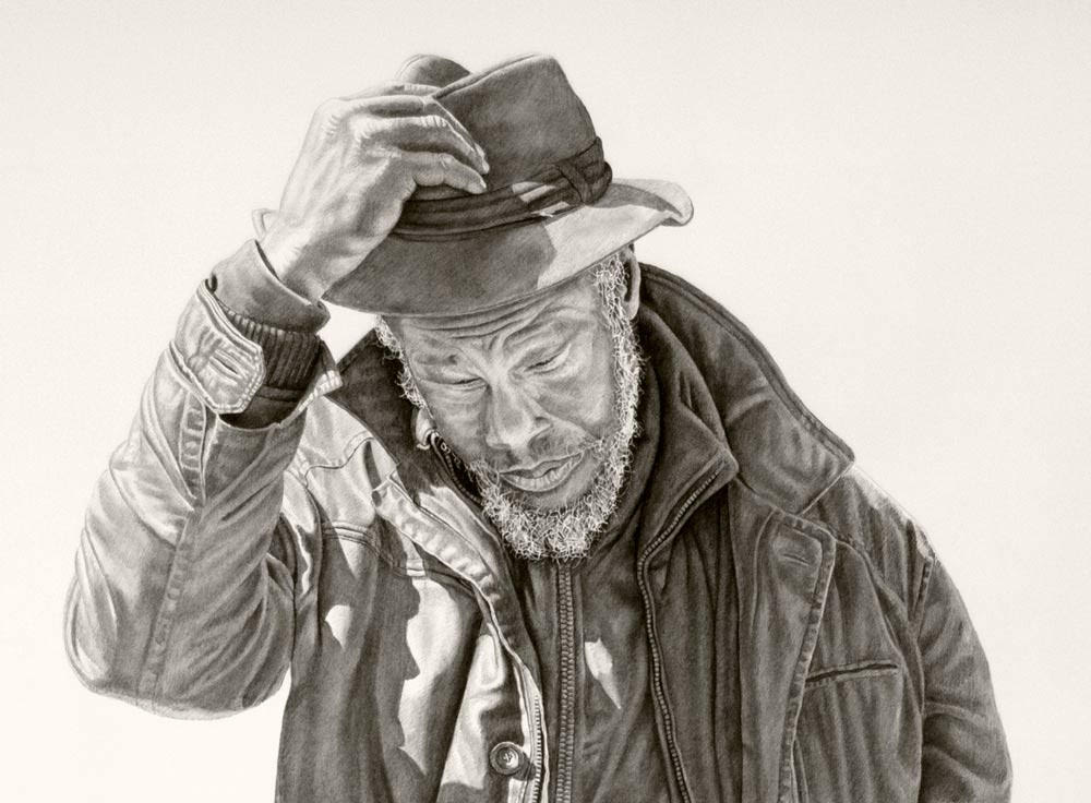 Renee (crop) 42x94in, Charcoal & Graphite on Paper, 2015