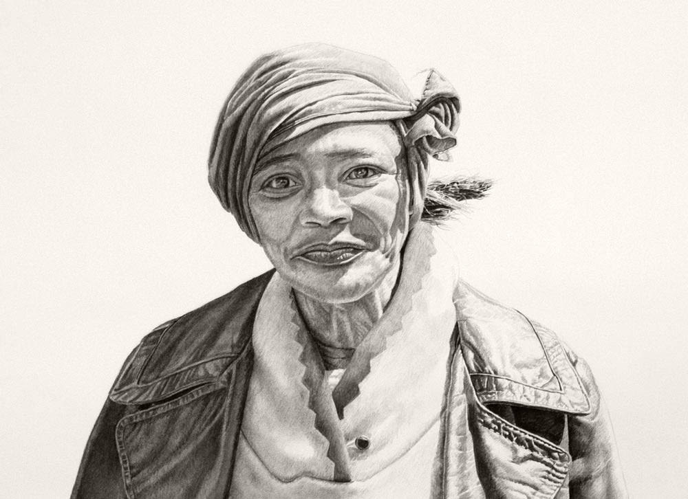 Cheryl (crop) 42x94in, Charcoal & Graphite on Paper, 2015