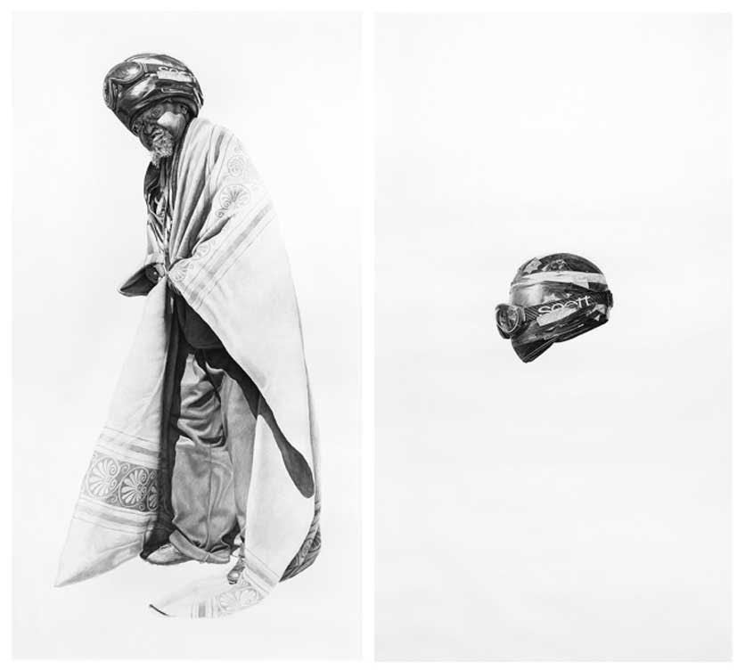 Spaceman #7 and Spaceman's Helmet, 48x87in each, Charcoal & Graphite on Paper