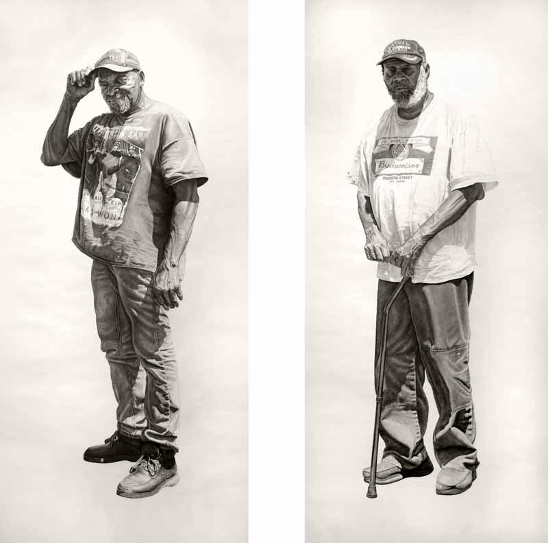 (L) Charlie Lee / Chopper #2,42x94in, Charcoal & Graphite on Paper, 2017 (R) Joe Duncan, 42x94in, Charcoal & Graphite on Paper