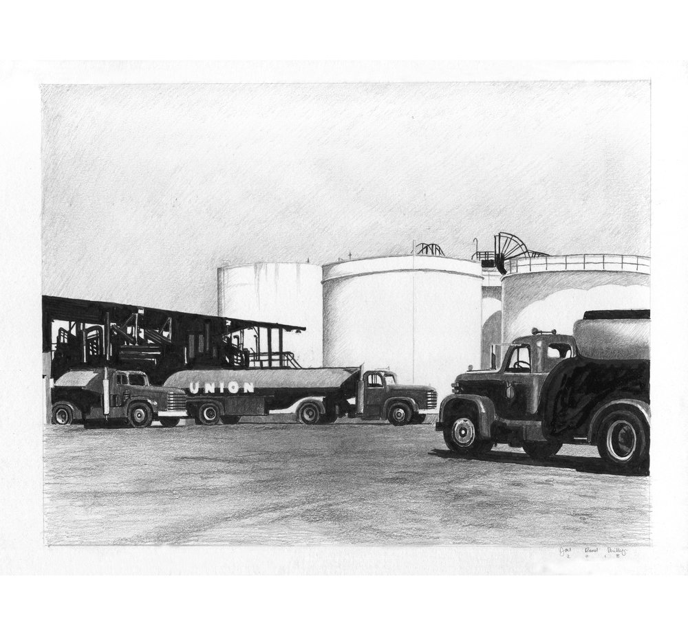 Union Oil Trucks Parked at a Refinery