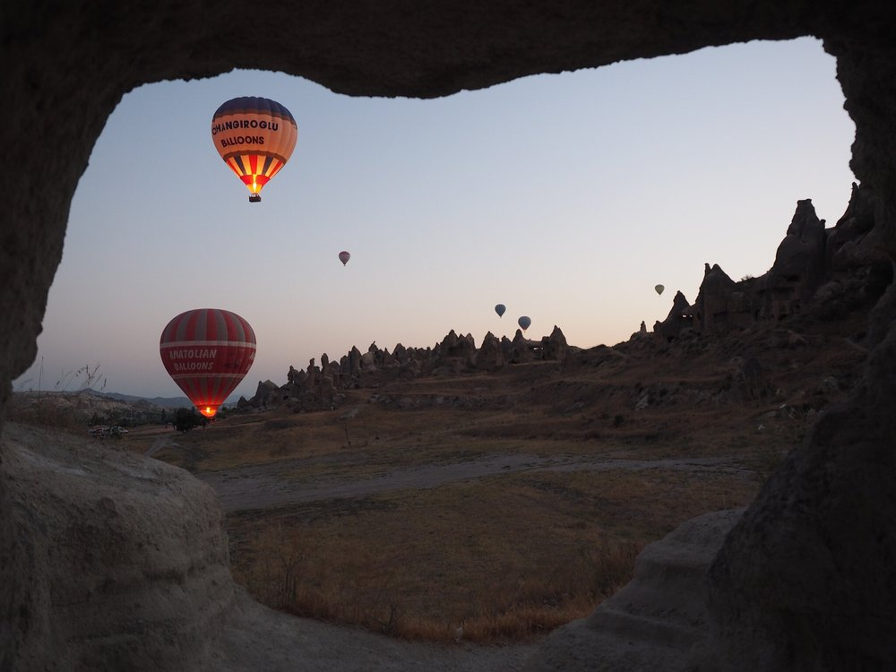 Hot-air balloons take off at dawn near Goreme, Turkey (Photo by Laura Bly)