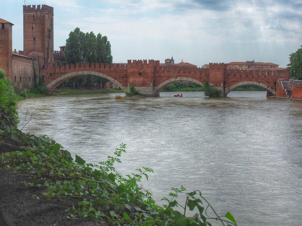 Verona's Castelvecchio Bridge was one of several  destroyed by retreating Nazi forces in World War II; the U.S. funded and coordinated the repair of all the city's  bridges and monuments. (Photo by Laura Bly)