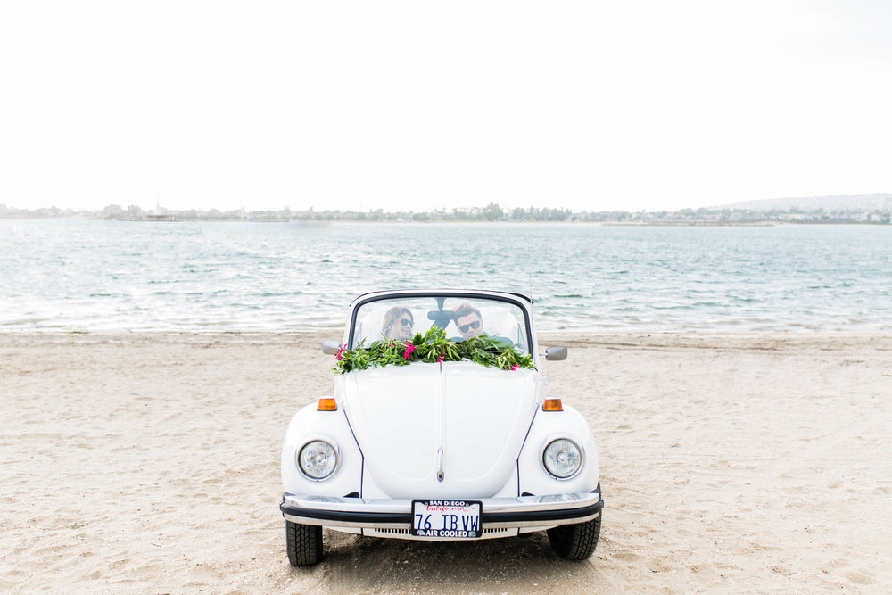 SamErica Studios VW Bug Engagement Fiesta Island San Diego