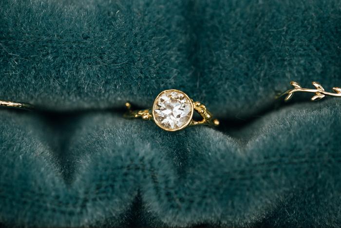 SamErica Studios - custom gold branch wedding ring