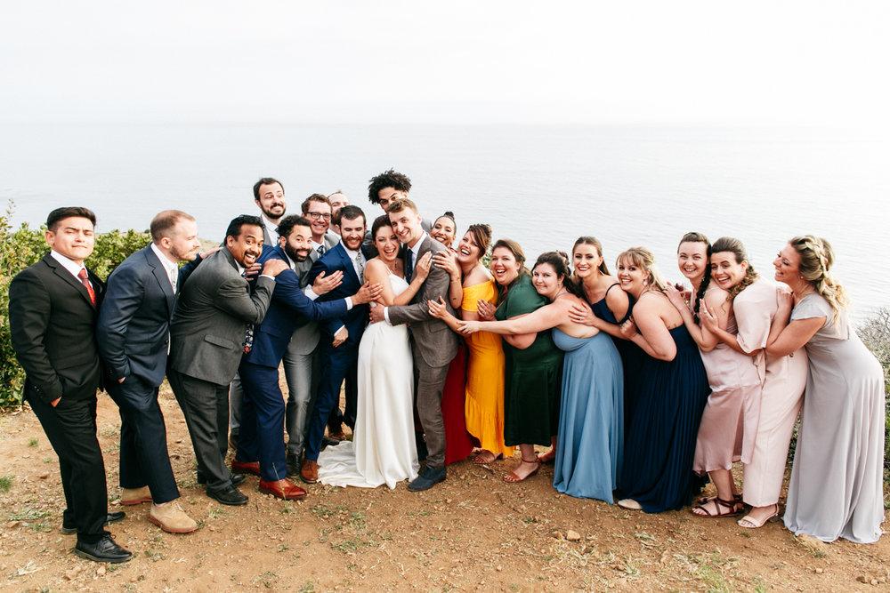 SamErica Studios - colorful multicultural wedding party Malibu