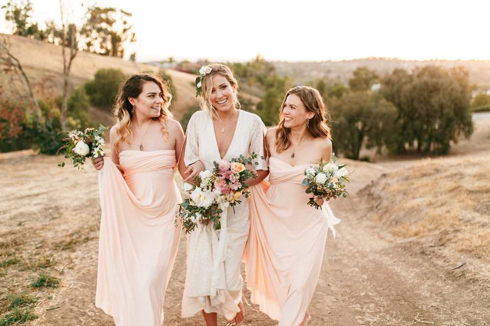 SamErica Studios - modern wedding - blush pink infinity bridesmaid dresses - minimalist wedding jewelry
