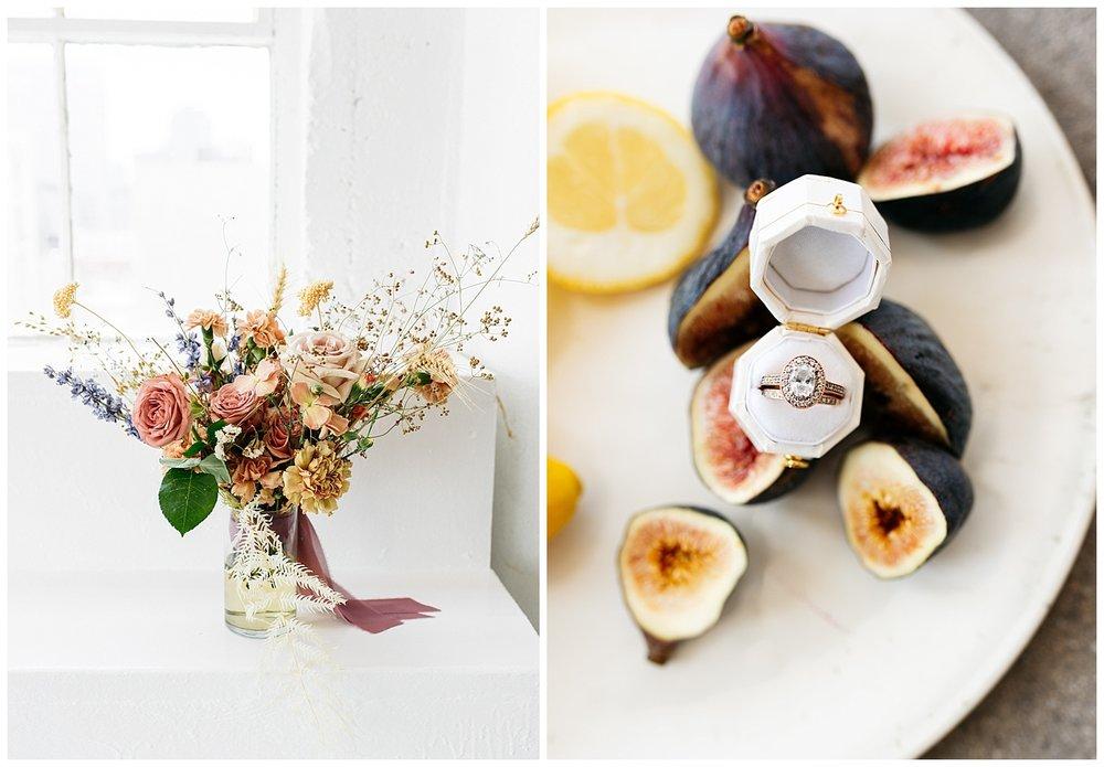 SamErica Studios - wedding ring detail shot colorful wedding bouquet