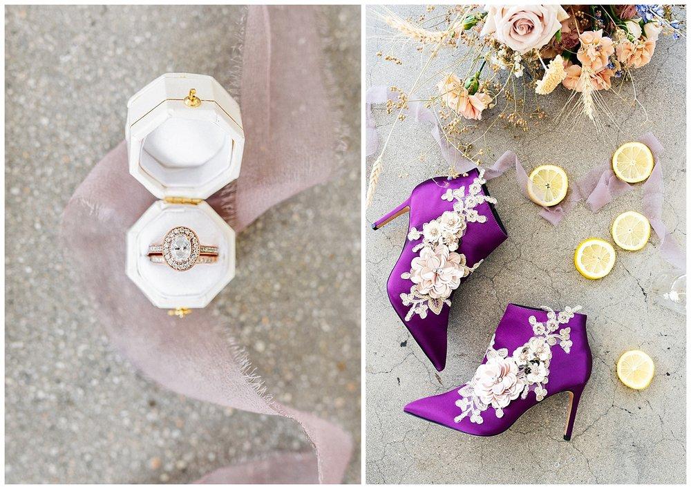 SamErica Studios - purple lavender wedding details purple heels