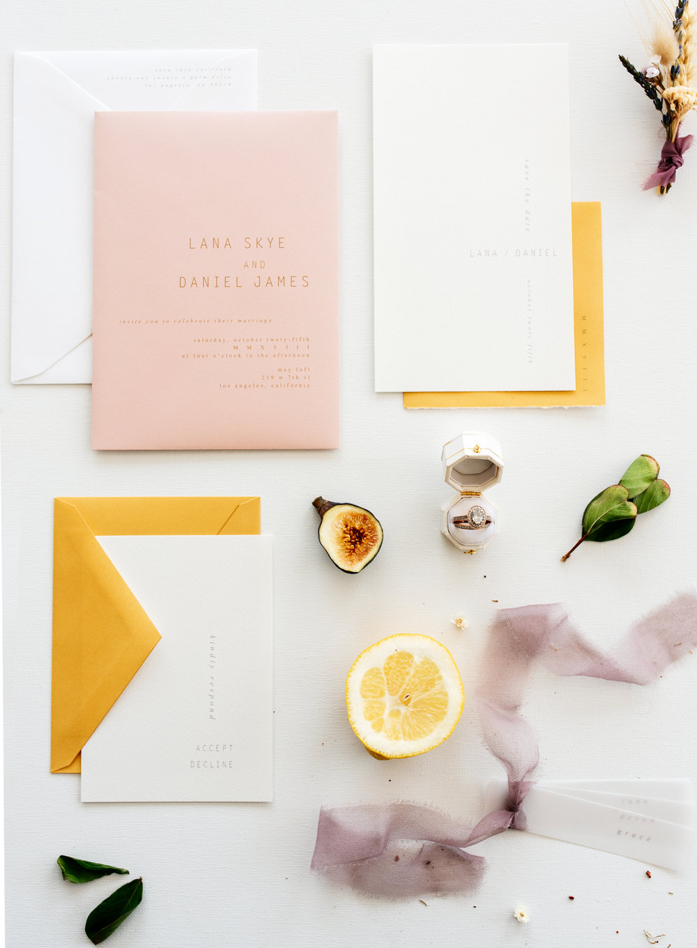 SamErica Studios - warm modern minimalist wedding invitation suite