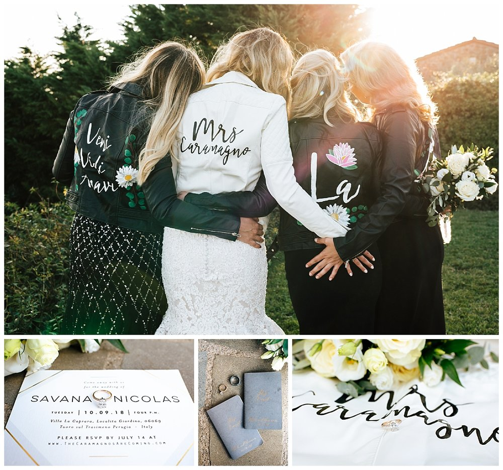 SamErica Studios - Cortona Italy Wedding -  Modern Destination Wedding photographers - leather bridesmaids jackets