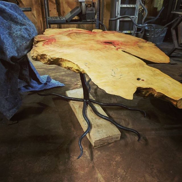 Tree of life hand forged base #handforged #blacksmithing #artisan blacksmith#uniquedesigns #table