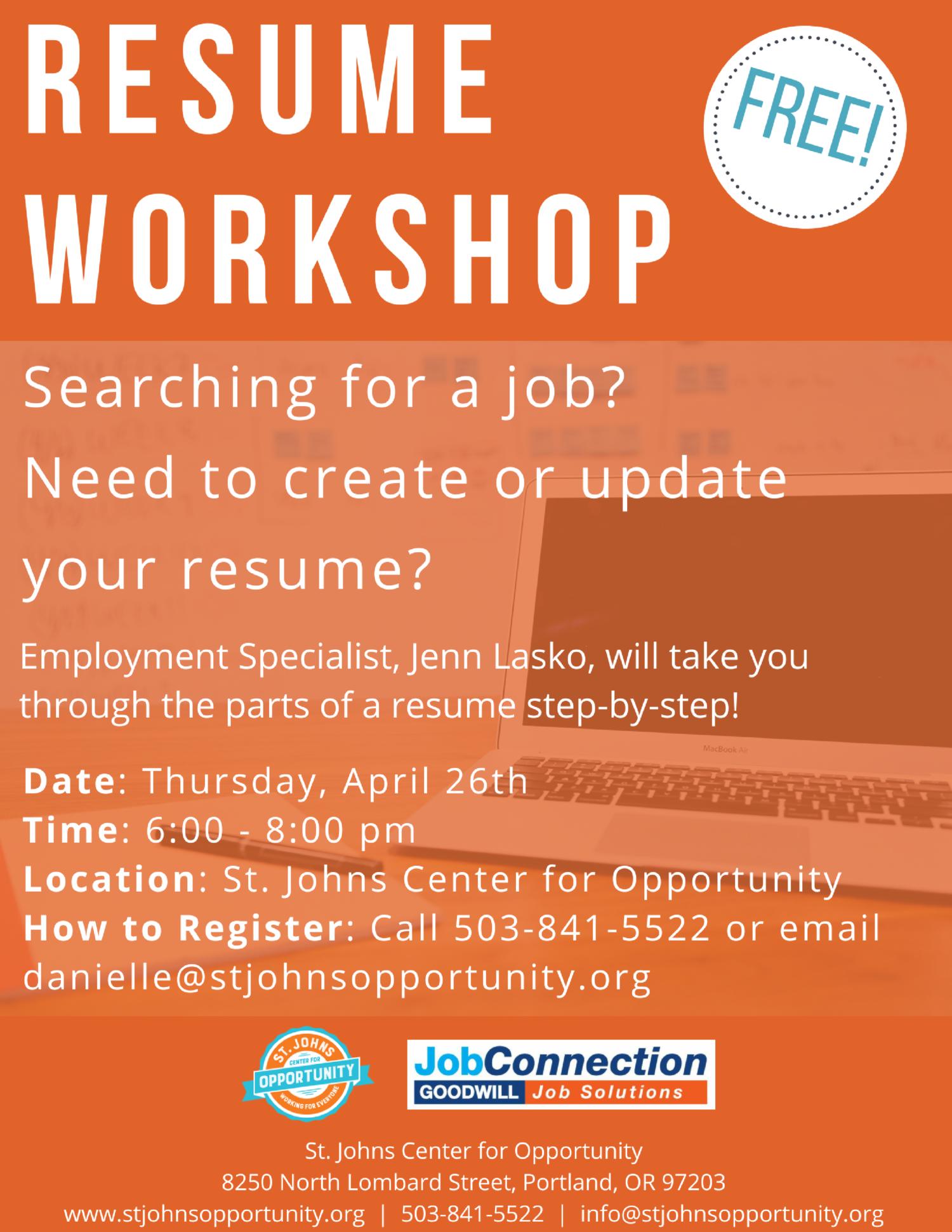 resume workshop st johns center for opportunity