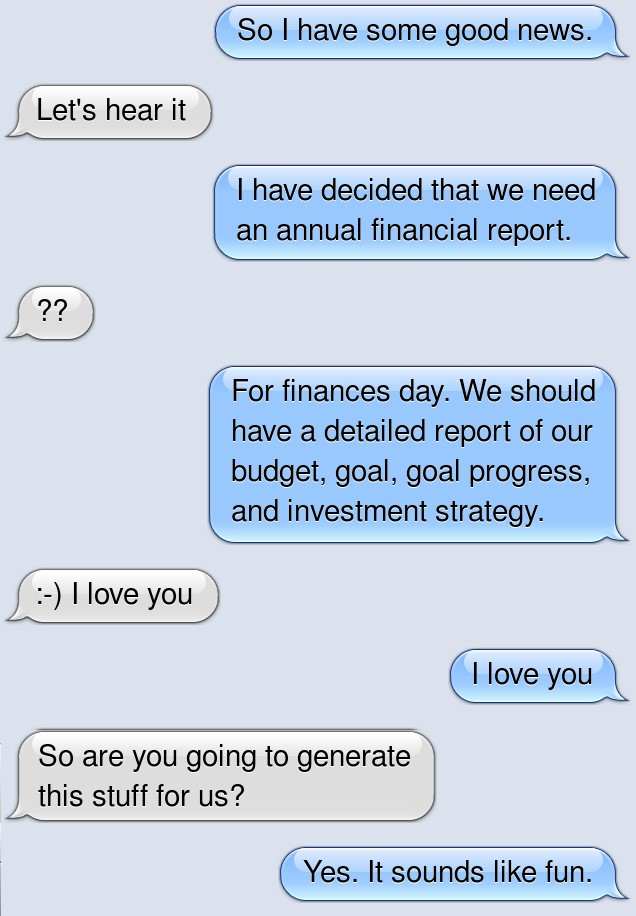 A text exchange between my (future) wife and I,
