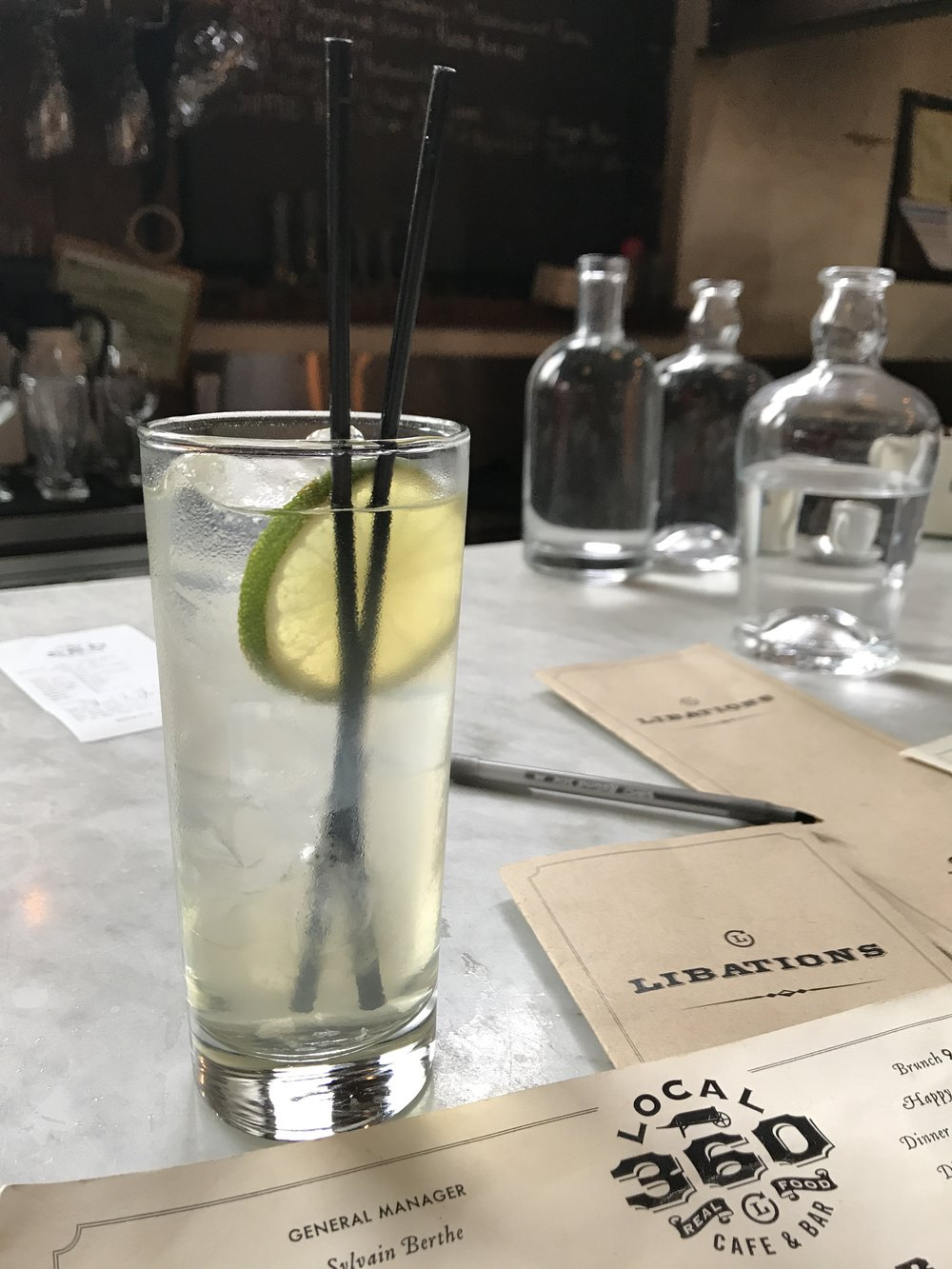 If you visit Seattle, you have to go to  Local 360 .  The food is great, and all of the ingredients are locally sourced.  This drink was pretty amazing too, but I can't remember the name of it.  It had elderflower in it, which was very refreshing.