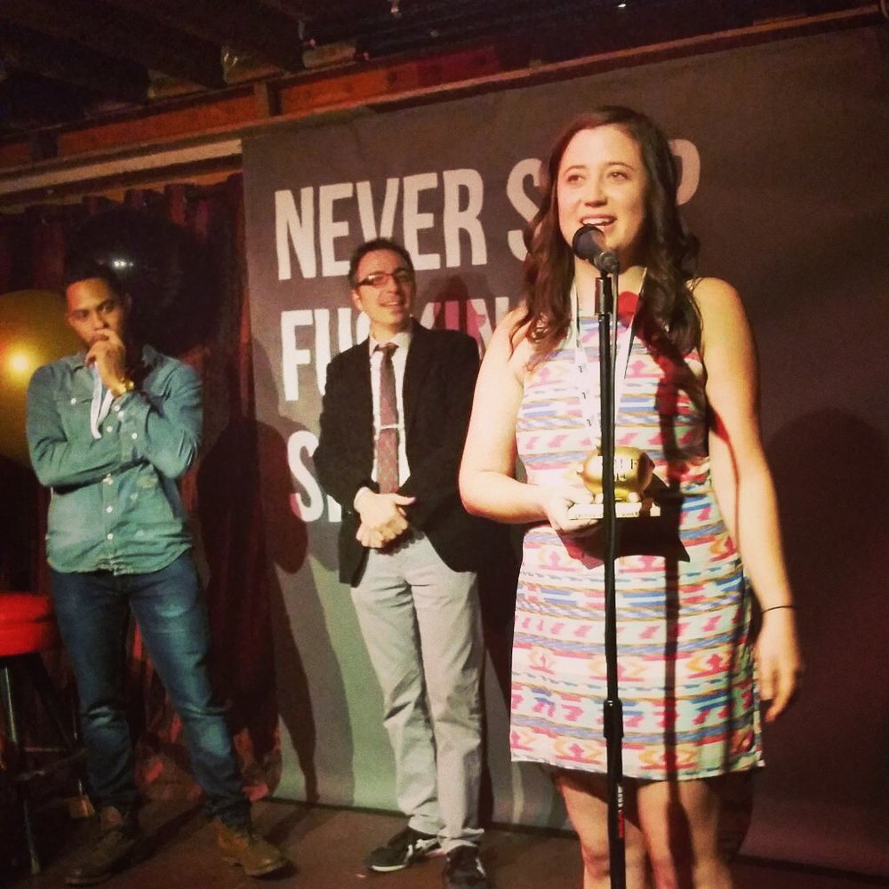 Campbell accepting Grand Jury Prize for This Is Not The End at the 2014 No Budget Film Festival in Los Angeles.
