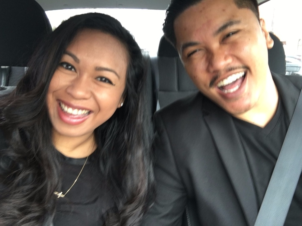 (This was a selfie they took en route to find a location for their announcement photos!)