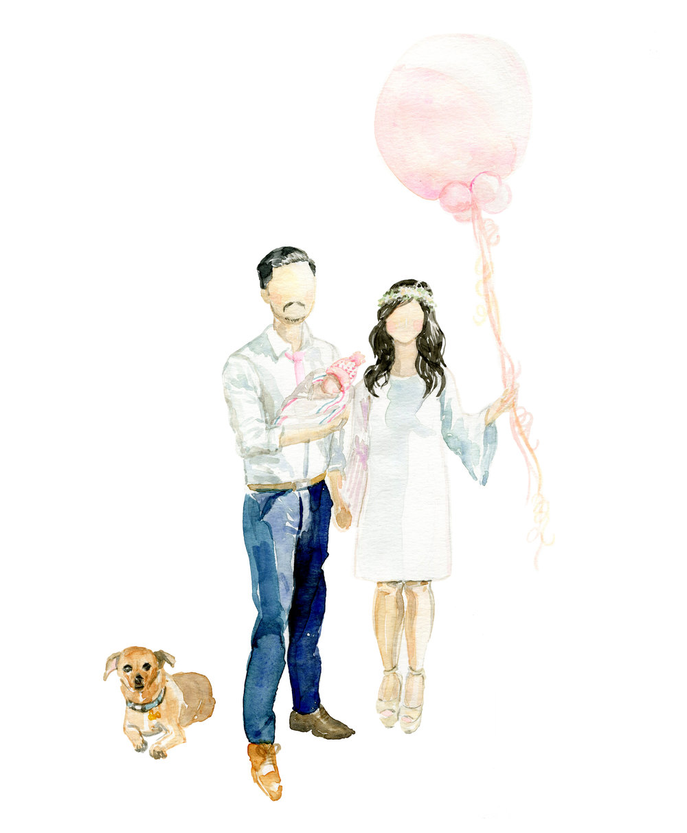 Watercolor Family Portrait by  Chasing Linen