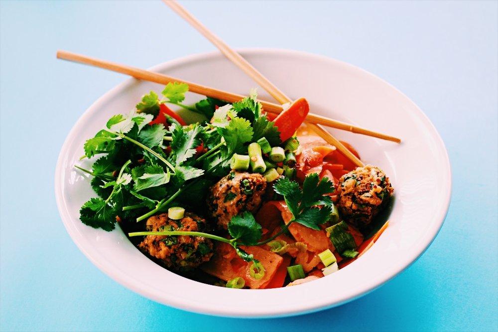 vegan pad thai meatballs modern merfolk