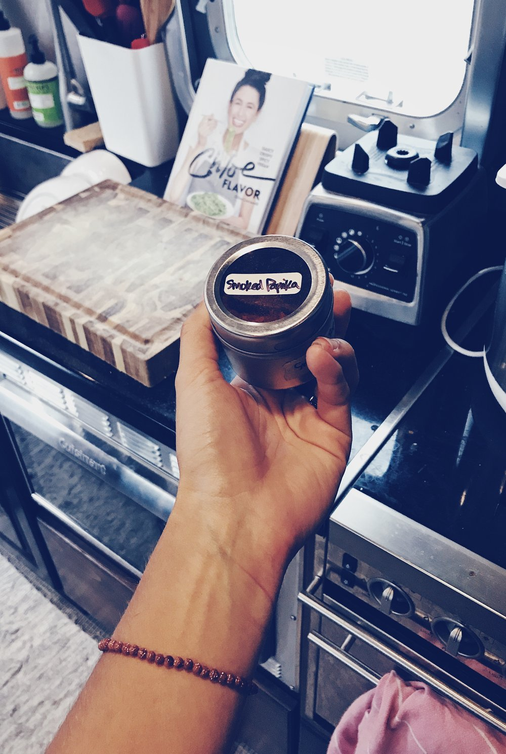 magnetic spice rack airstream kitchen photo