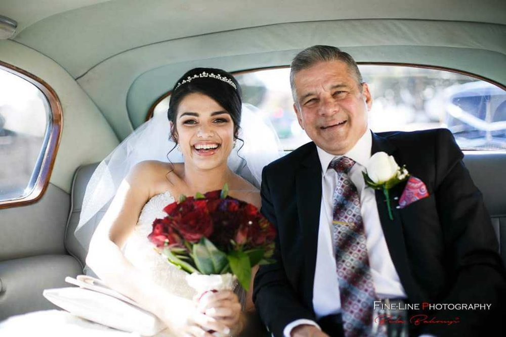 FineLine-Photography-Nicole-with-her-Dad-in-the-back-with-Very-Nice-Classics-wedding-car.jpg
