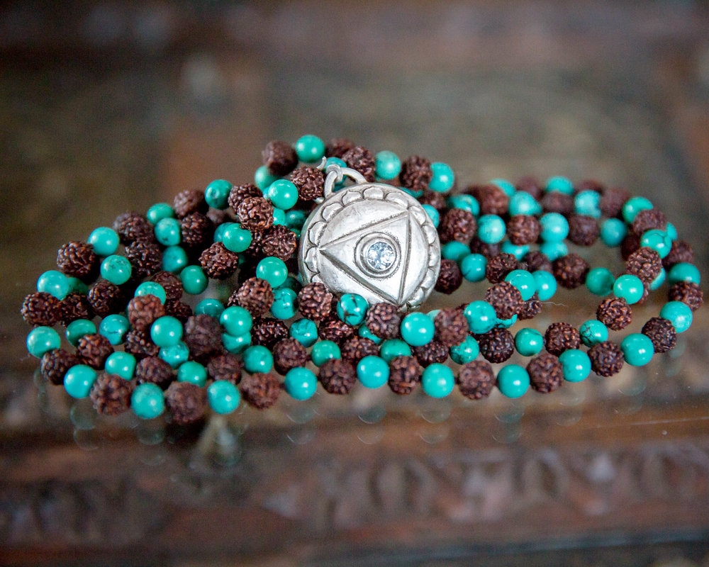 Turquoise Malas with Throat Chakra Amulet